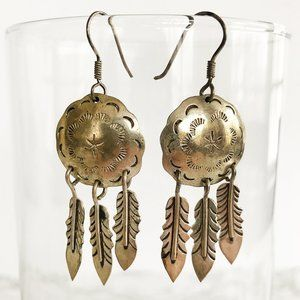 Jewelry - Antique Sterling Silver Shield & Feathers Earrings